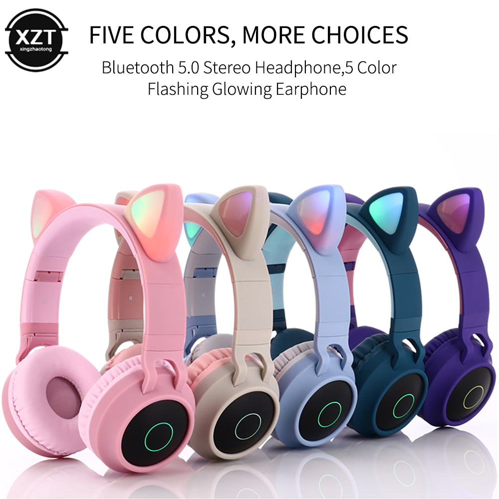 Cat Ear Bluetooth 5.0 LED Noise Cancelling Headset