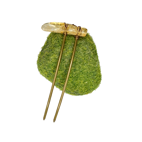 Curved Hair Stick- Citrine