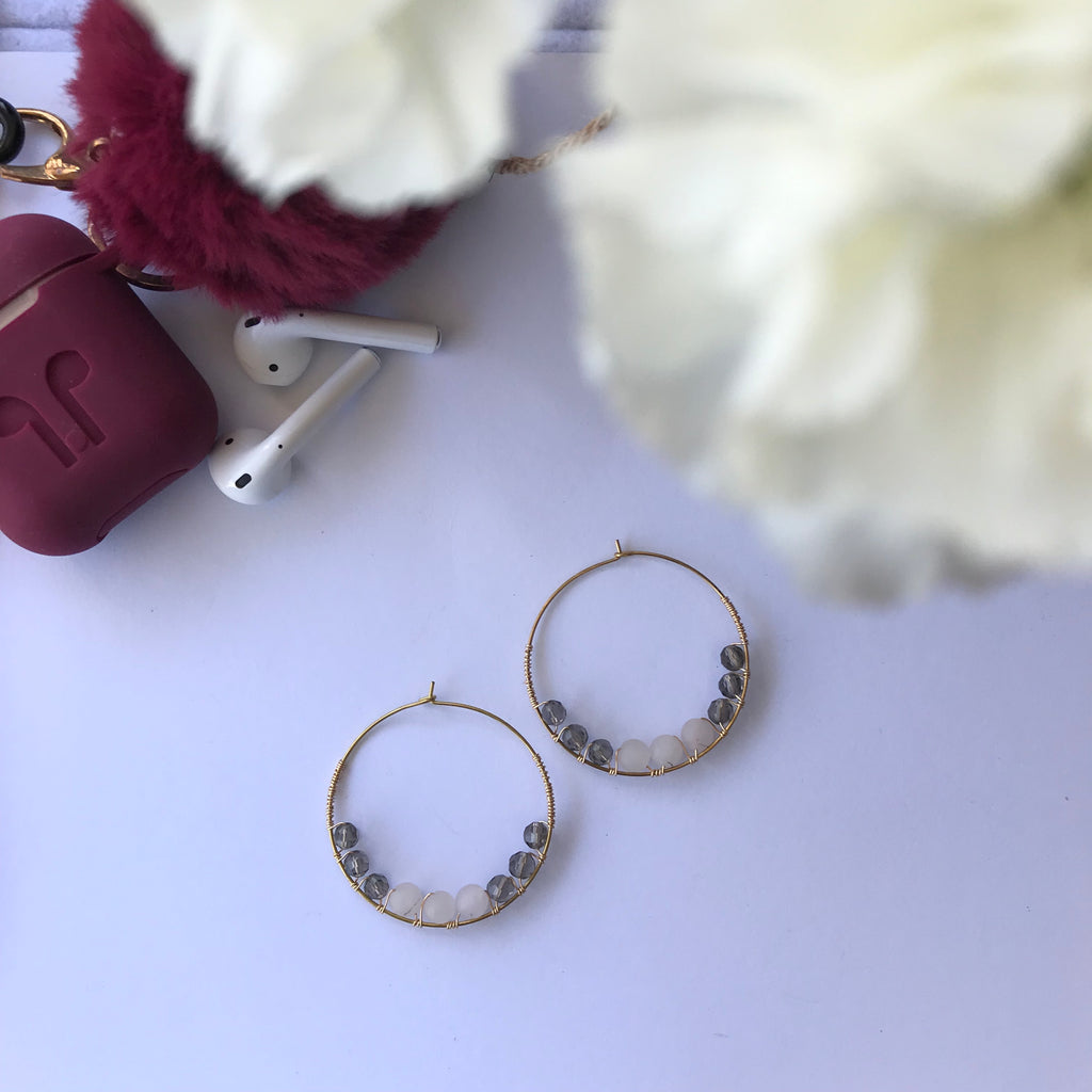 Rose Quartz & Gray Beads Hoop Earrings