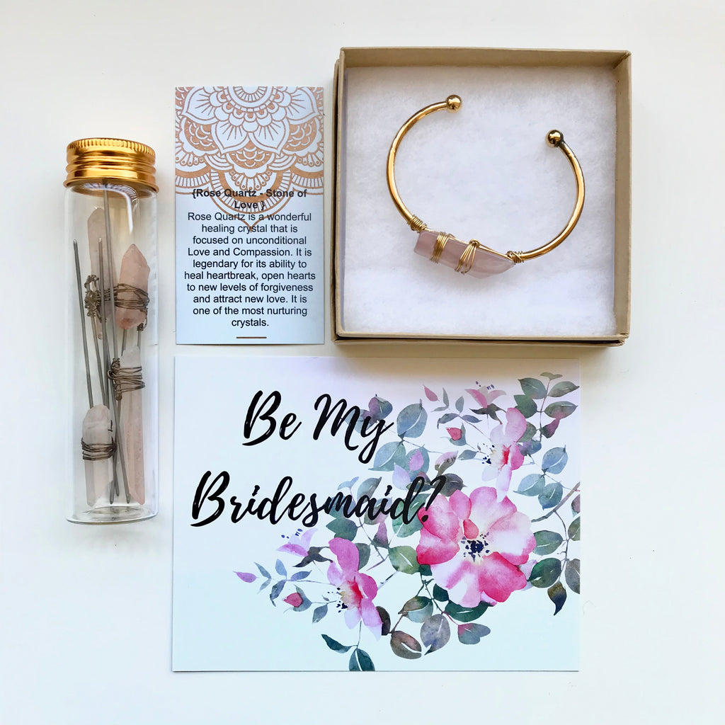 Bridesmaid Proposal Box Rose Quartz & Hair Pin set