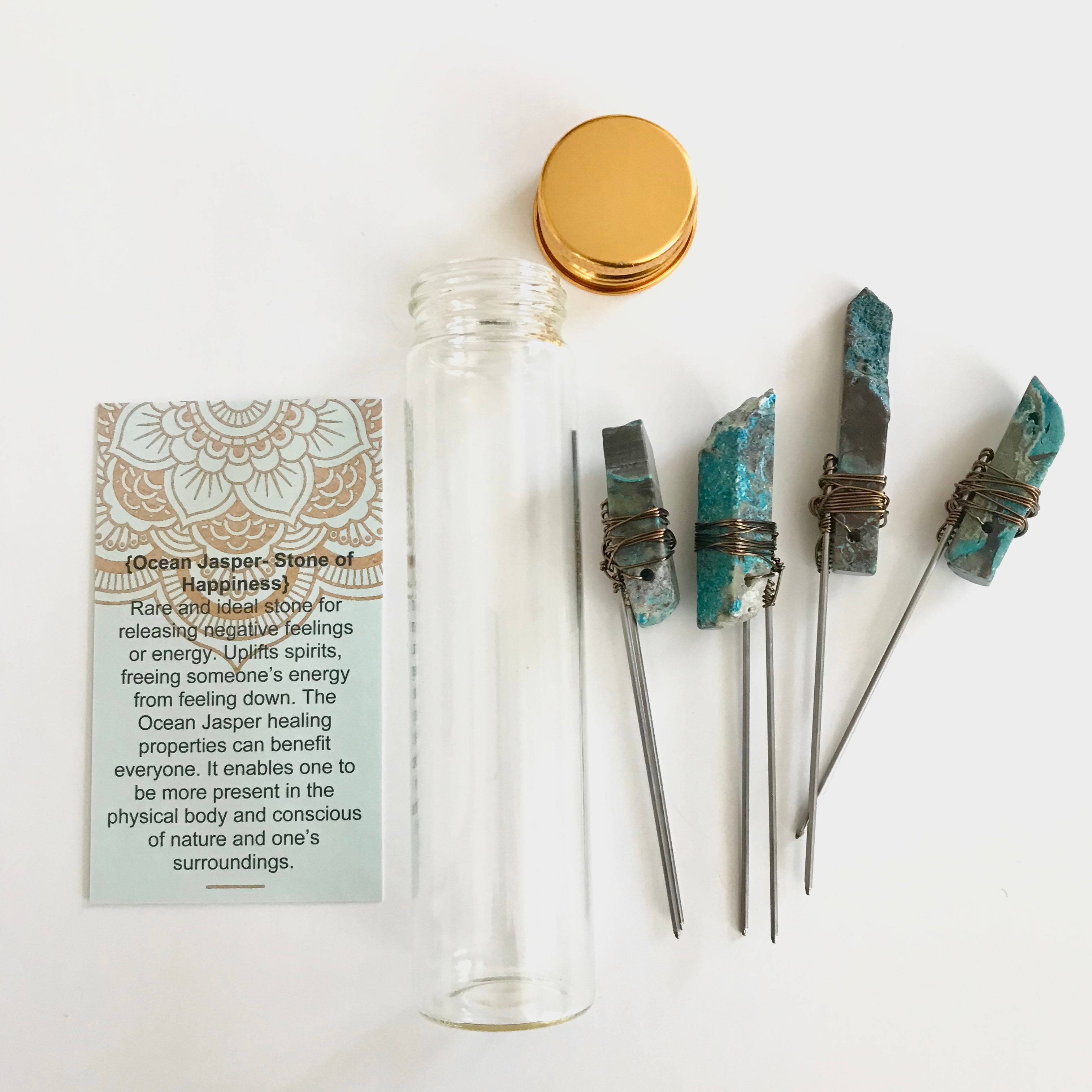 Vibes In A Vial- Ocean Jasper Hair Pin Set