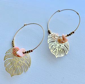 Monsterra & Coral Hoop Earrings
