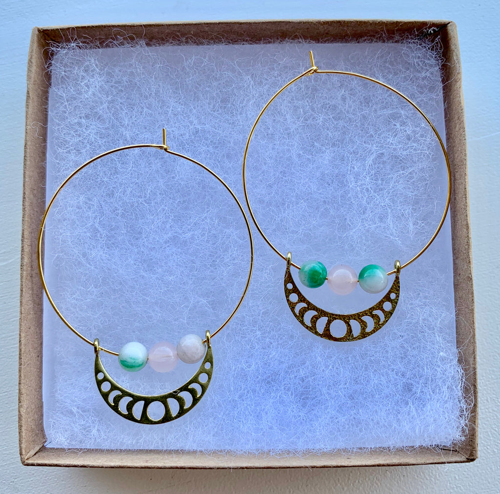 Amazonite & Rose Quartz Hoop Earrings