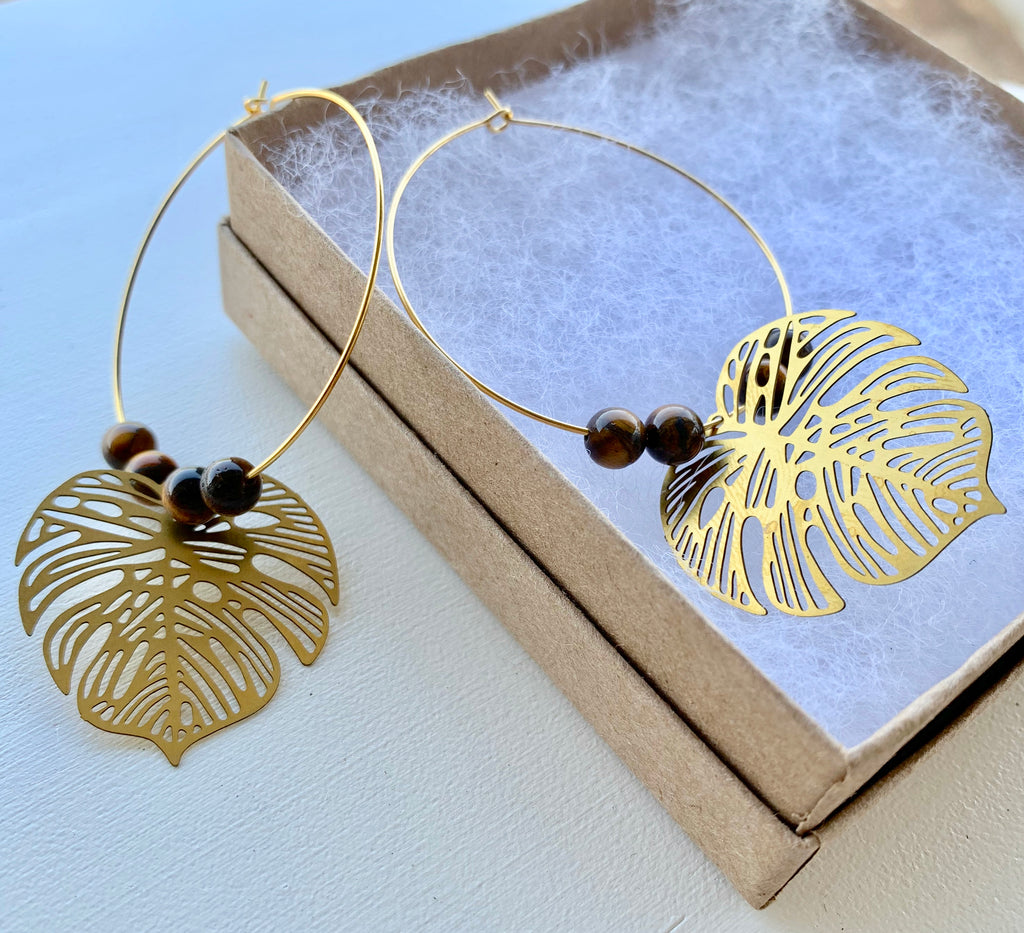 Tiger's Eye and Monsterra Hoop Earrings