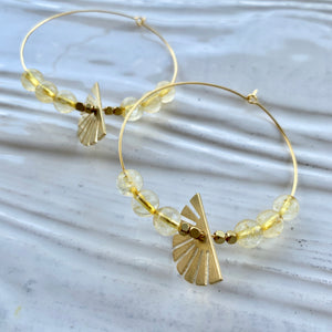 """The Melanie"" Citrine Hoops with Fan charm"