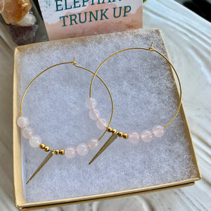 """The Megan"" Rose Quartz- Stone of Love Hoops"
