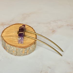 Curved Hair Stick- Amethyst