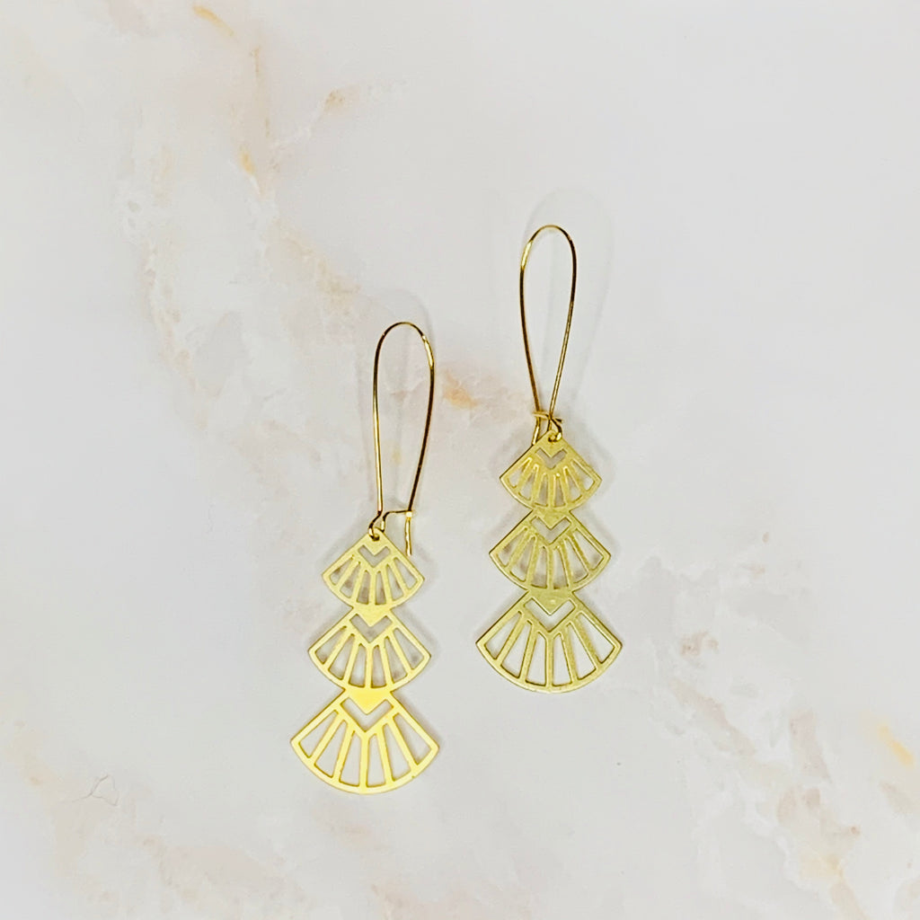 Three Tiered Fan Earrings