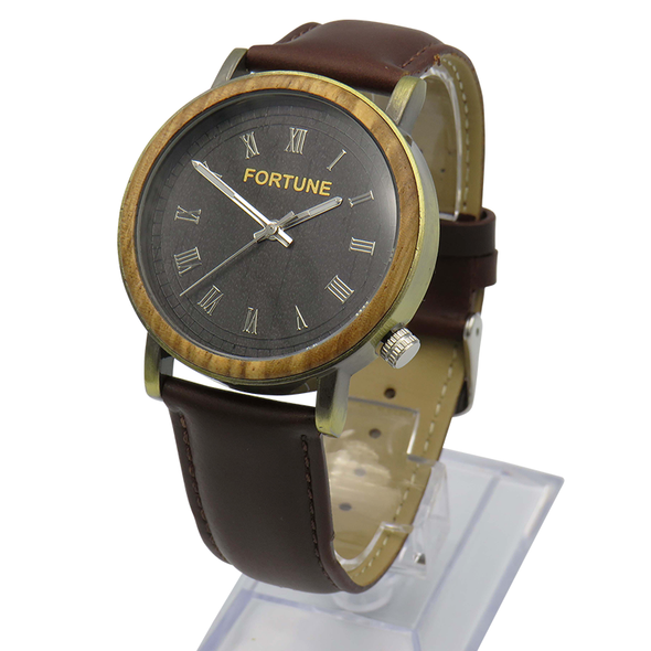 The Narrator - Bronze style watch with a zebra wood finish