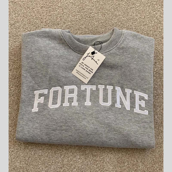 Fortune embroidered college Sweater in grey