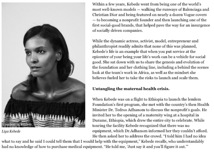 How International Model Liya Kebede Harnesses Her Work To Fuel Social Good - Forbes