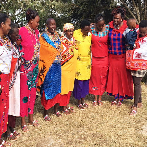 Meet the incredible group of Maasai women artisans that handmade the trim you see on our new collection with Ancient Greek Sandals!