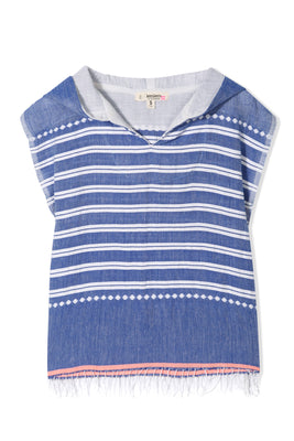 Aden Girls Poncho - Blue