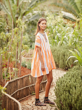 Amira Orange Smock Dress