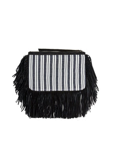 Liya Fringe Clutch Bag - Black