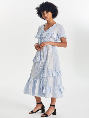 Issa Tiered Long Dress