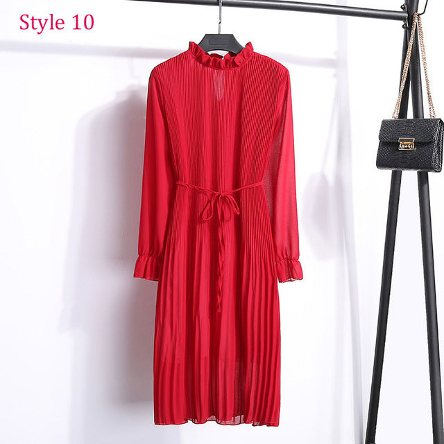 c6be9322a29b9 Two layers Floral Chiffon Dress Elastic Waist Women Spring A-line Lace Up  Flare Sleeve Bohemian Dress Femme Vestidos 2019