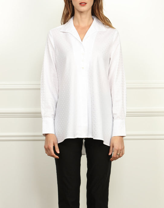 Betty Wing Collar A-line Tunic In White Jacquard