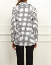 Load image into Gallery viewer, Katherine Wing Collar Tunic In White and Black Honeycomb Print