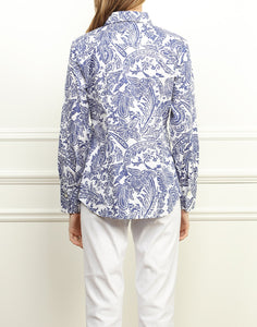 Diane Classic Fit Shirt In Blue and White Paisley Print
