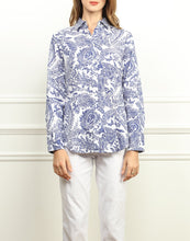 Load image into Gallery viewer, Diane Classic Fit Shirt In Blue and White Paisley Print