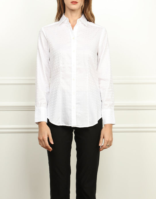 Diane Classic Fit Shirt In White Jacquard