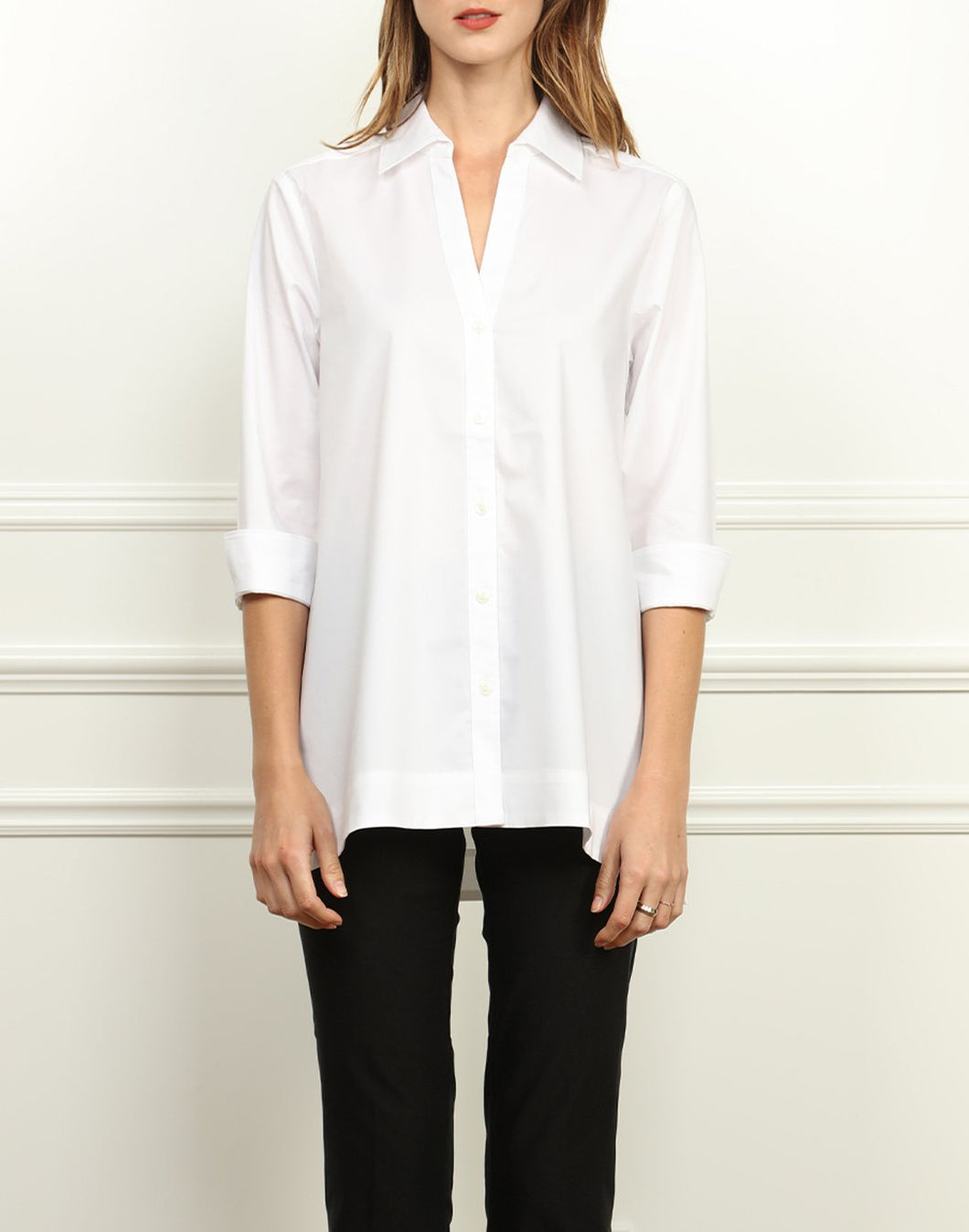Mairina 3/4 Sleeve Draped Front Tunic In White
