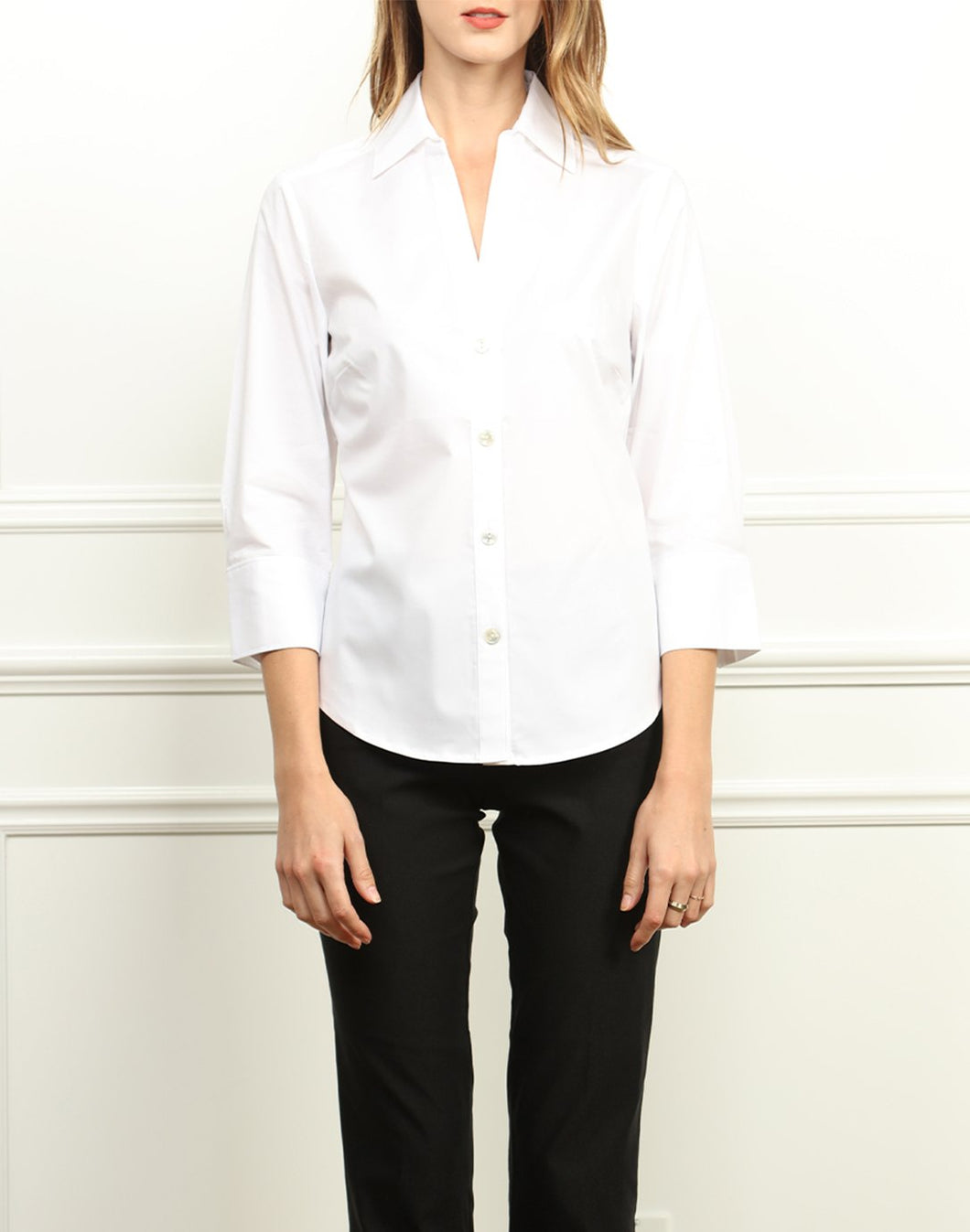 Pamela Button Front Shirt With Knit Jersey Back In White