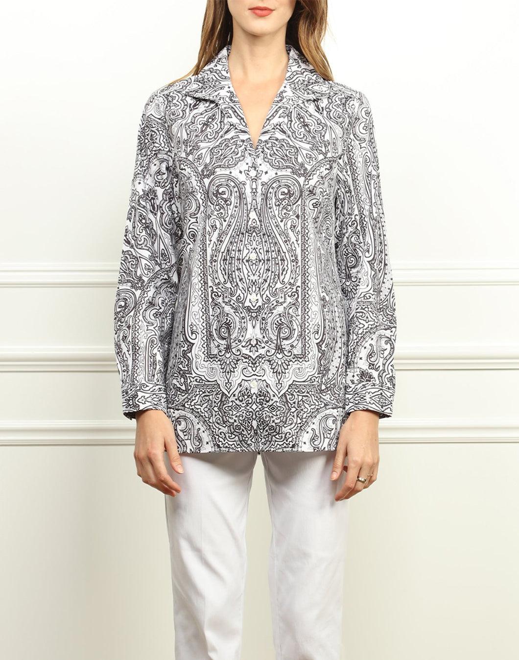 Katherine Classic Wing Collar Tunic In Black And White Paisley Print