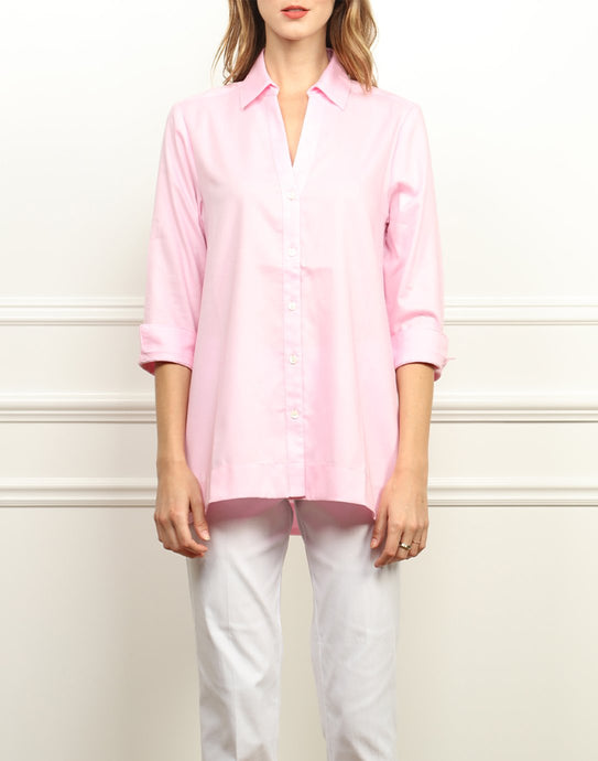 Mairina 3/4 Sleeve Draped Front Tunic In Shell Pink