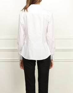 Donna Classic Fit Wing Collar Shirt In White