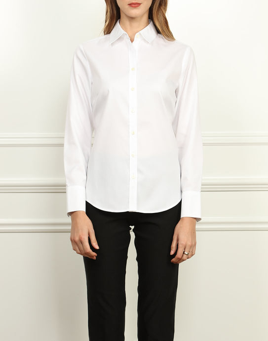 Clarice Luxe Cotton Classic Fit Shirt In White