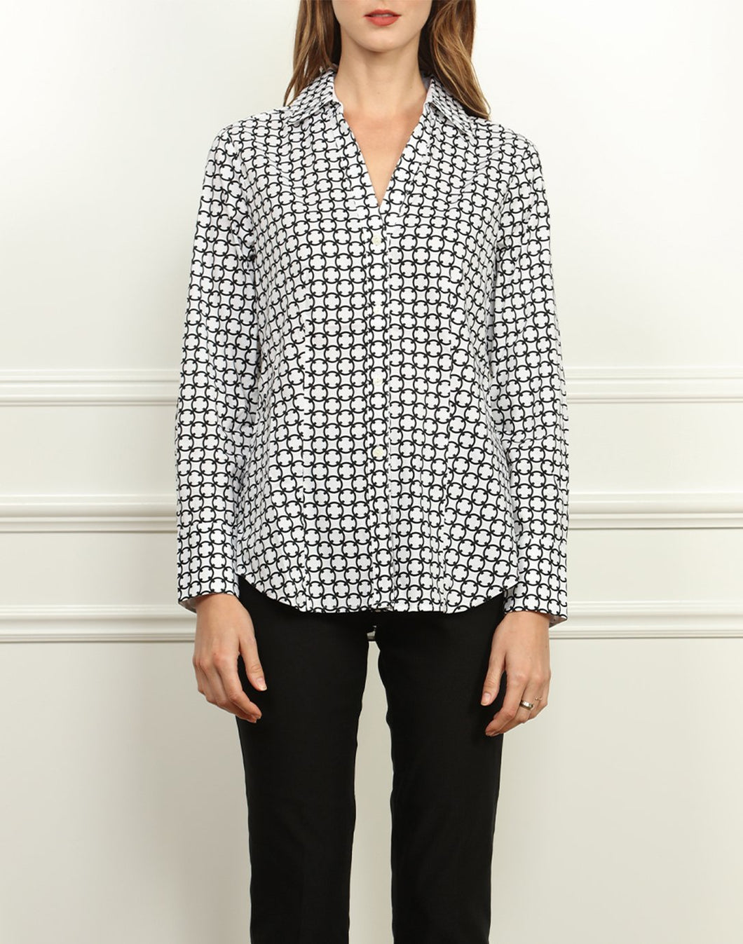 Kelly Double Collar Shirt In Black and White Chainlink Print