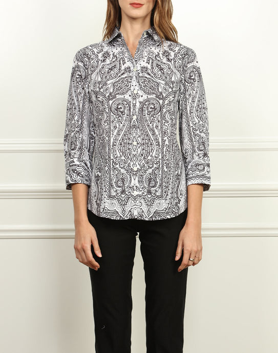 Diane Classic Fit Shirt In Black and White Paisley Print