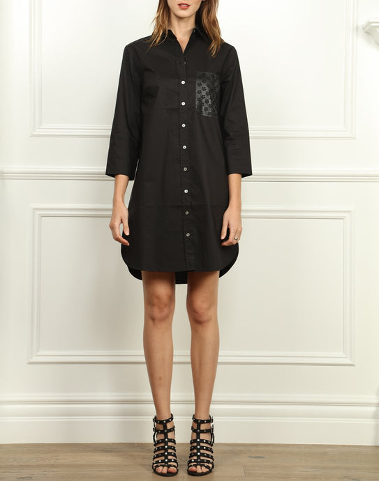 Kathleen Button Front Shirtdress In Black