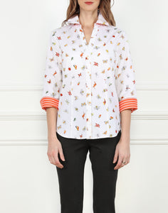 Loretta 3/4 Sleeve Split Neck Shirt in Happy Bugs Print