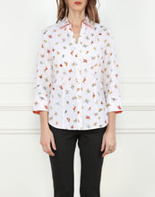Load image into Gallery viewer, Loretta 3/4 Sleeve Split Neck Shirt in Happy Bugs Print