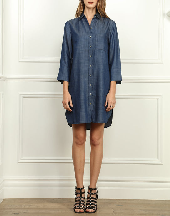 Kathleen Button Front Shirtdress In Dark Indigo Tencel Denim
