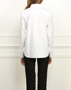 Meghan Luxe Cotton Relaxed Fit Shirt In White