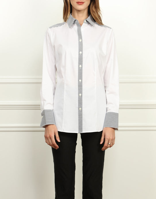 Diane Classic Fit Stripe Trimmed Shirt In White
