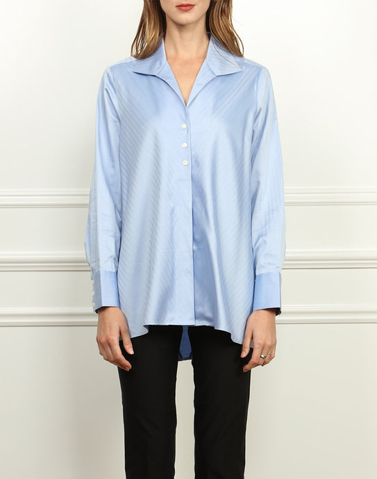 Betty Wing Collar A-line Tunic In Blue Bell Herringbone