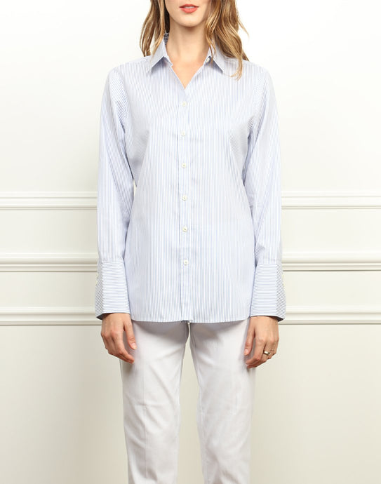 Meghan Luxe Cotton Relaxed Fit Shirt In Blue and White Stripe