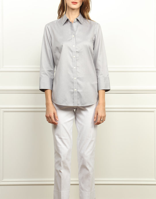 Clarice Luxe Cotton Classic Fit Shirt in Tahitian Pearl/White