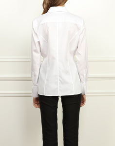 Marie Luxe Cotton Tie Front Shirt In White