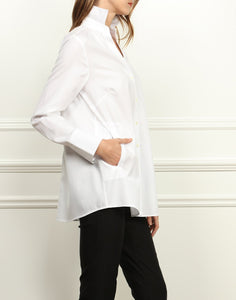 Dee Luxe Cotton A-line Shirt Jacket In White