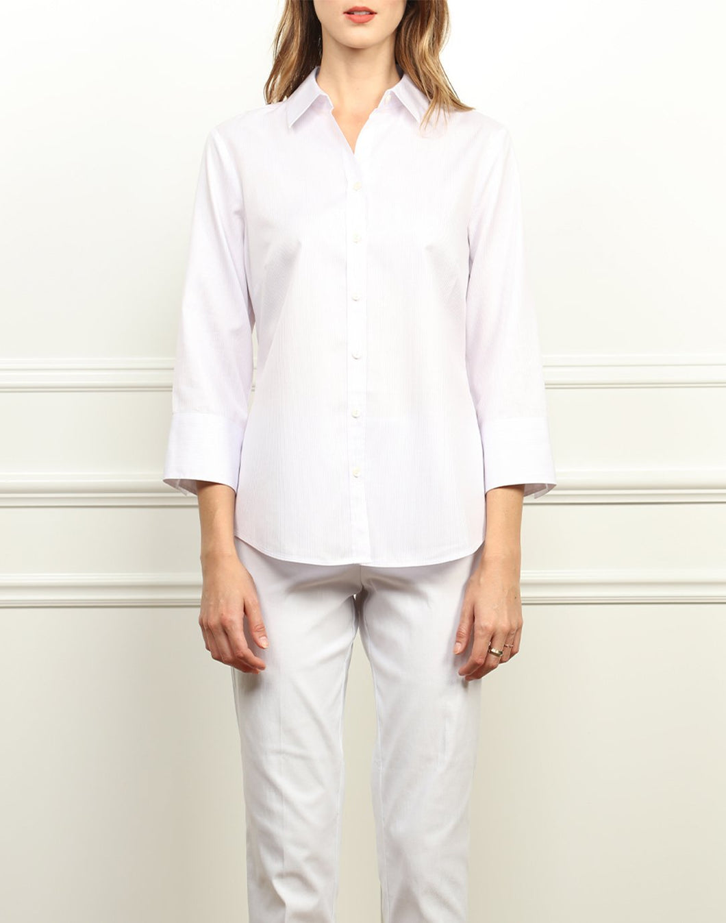 Clarice Luxe Cotton Classic Fit Shirt in Stripe