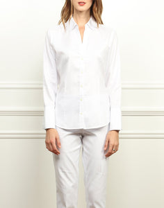 Loretta Classic Fit Shirt In White and Navy Stripe