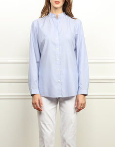 Frankie Relaxed Fit Shirt In Indigo/White Mini Stripe