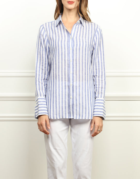 Meghan Luxe Linen Relaxed Fit Shirt In Indigo and White Stripe