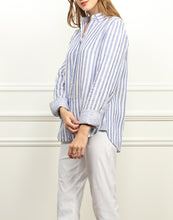 Load image into Gallery viewer, Meghan Luxe Linen Relaxed Fit Shirt In Indigo and White Stripe